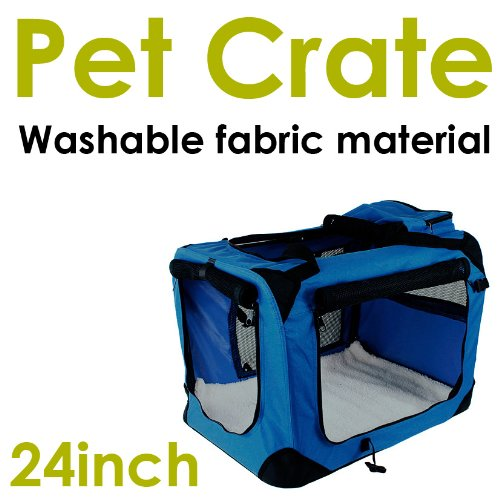 New Medium Dog Pet Puppy Portable Foldable Soft Crate Playpen Kennel House -Blue front-850367