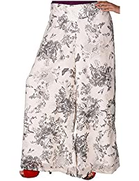 Dhaani Women's Georgette Loose Fit Palazzo (White, Large)