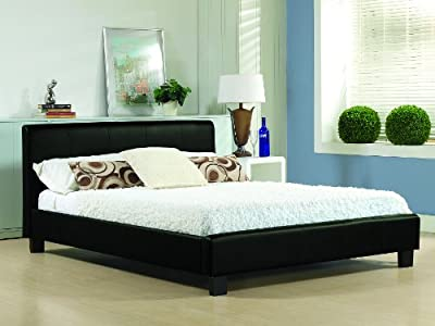 "Black Real Leather Low Foot End Double 4ft 6"" Bed Frame"