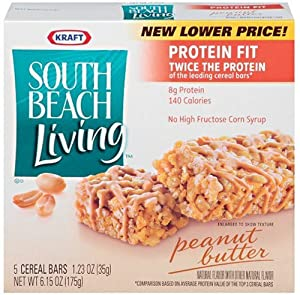 South Beach Living  Protein Cereal Bars, Peanut Butter, 5-Count Bars (Pack of 4)