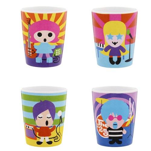 French Bull Kids Melamine Juice Cup, 6-Ounce, Rock Stars Kids, Set Of 4