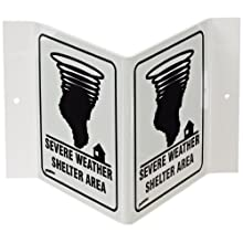 "Brady V1SWG4G 6"" Height, 9"" Width, 4"" Depth, Acrylic Backed, Black On White Color Glow-In-The-Dark Standard ""V"" Sign, Legend ""Severe Weather Shelter Area (With Picto)"""