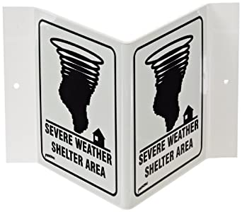 "Brady Black On White Color Glow-In-The-Dark Standard ""V"" Sign, Legend ""Severe Weather Shelter Area (With Picto)"""