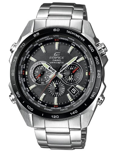 Casio EQW-M600DB-1AER Gents Watch Quartz Analogue Black Dial Silver Steel Strap