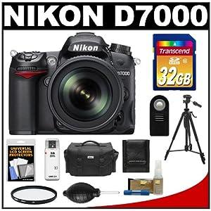 Nikon D7000 Digital SLR Camera & 18-105mm VR DX AF-S Zoom Lens with 32GB Card + Case + Tripod + Filter + Remote + Accessory Kit