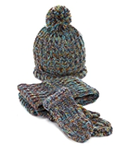 3 Piece Multi Space-Dye Knitted Hat, Scarf & Mittens Set