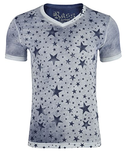 Rass Collection V-Neck Graphic T-Shirt - Men's Tee Shirts MJC5043-NVY-L (La Made V Pocket Tee compare prices)