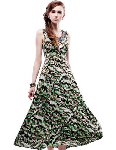 Maxchic Women's Embellished Scoopneck Sleeveless Stretch Printed Maxi Dress C01635S12M,Green,Small