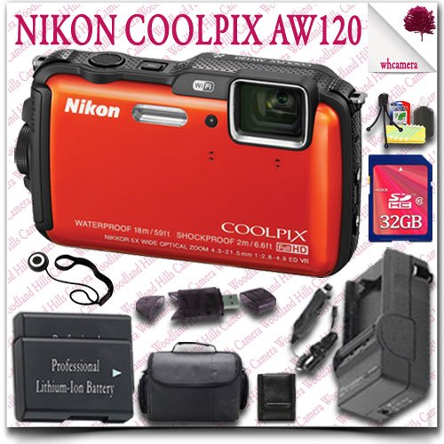 Nikon Coolpix Aw120 Wifi Waterproof Gps Digital Camera (Orange) + 32Gb Sdhc Class 10 Card + Slr Gadget Bag 12Pc Nikon Saver Bundle