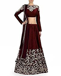 FabTexo Brown Embroidered Lehenga Choli Dupatta Set With Blouse Piece(UnStitched)