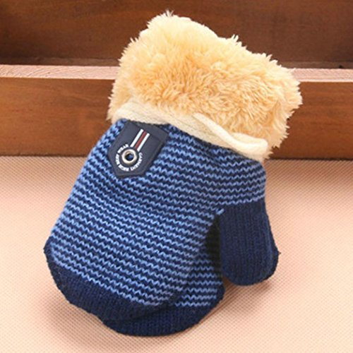 Amiley Infant Baby Girls Boys Warm Knitted Gloves Thick Fur Liner Mittens Winter (Dark Blue)