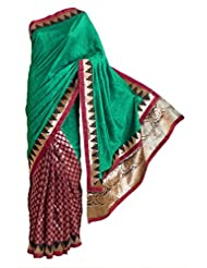 DollsofIndia Green Silk And Maroon Tussar Designer Saree With Golden Zari Design On Pleats, Border And Pallu -...