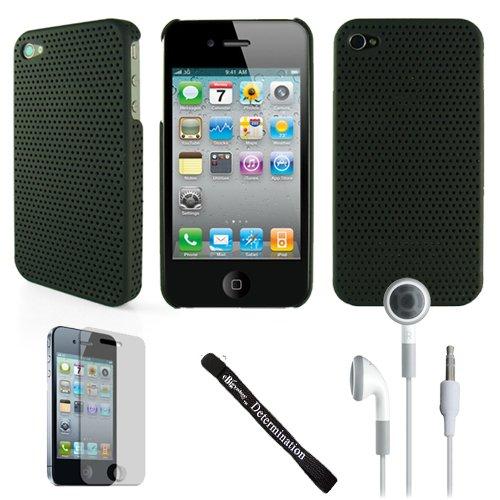 Aero Mesh Design Custom Style Durable For Apple Iphone 4 + Determination Hand Strap + Black Hd Earbuds (3.5Mm Jack)