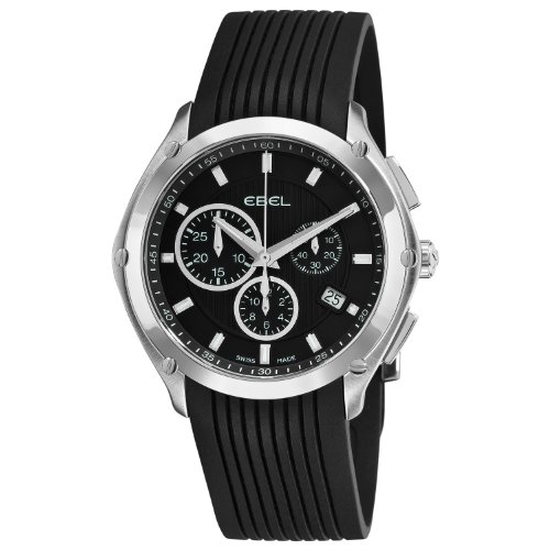 Ebel Men's 9503Q51/1533560 Classic Sport Black Dial and Rubber Strap Watch