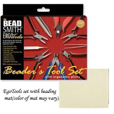 Beadsmith 9 Piece Ergonomic Tool Kit Pliers / Jewelry with Bead Mat
