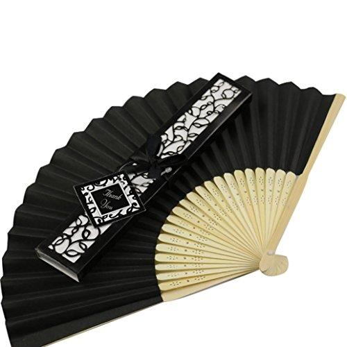 Elevin(TM) 1PC Summer Silk Fold hand Fan Elegant Laser-Cut Gift Box Party wedding Gifts (Black)