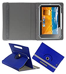 ACM ROTATING 360° LEATHER FLIP CASE FOR HCL ME CONNECT 3G 2.0 Y4 TABLET STAND COVER HOLDER DARK BLUE