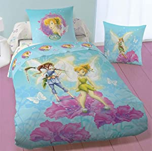 parure housse de couette disney fairies cute f e clochette 140 x 200 cm taie d 39 oreiller. Black Bedroom Furniture Sets. Home Design Ideas