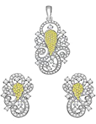 Vijisan Jewellery Set Collection 3.94 Ct.Designer Ganesha Fashion Stud Earrings Pendant Set In 925 Silver For...