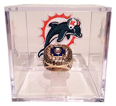 Miami Dolphins 1972 Super Bowl Ring In Display Cube - Bob Griese Replica w/ Logo Patch - Last Undefeated Team