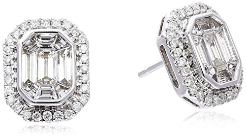Special-Emerald-Cut-Composite-Solitaire-with-Side-Stone-14k-White-Gold-Earrings-1cttw-H-I-Color-I1-I2-Clarity