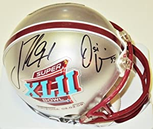 Buy Justin Tuck and Osi Umenyiora Autographed Hand Signed Super Bowl 42 Mini Helmet - New York Giants by Real Deal Memorabilia