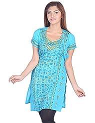Aabarani Women's Hand Work Semi Stitched Cotton Kurta (ABKU001,Sky Blue)