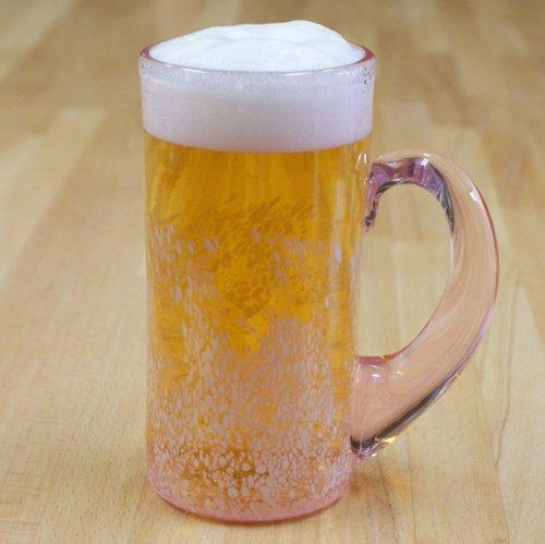 ボンディア 琉球ガラス 夢色ピンクのさざ波ビールジョッキ 3(ミックス)
