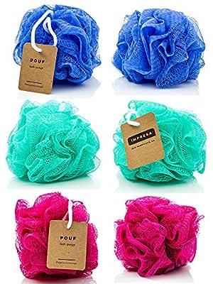 Eco-friendly Mesh Bath and Shower Sponge, (6-pack) Loofah-loofa-loufa-luffa-pouf