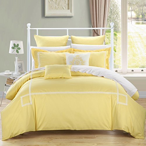 yellow and white bedding bedroom decor ideas