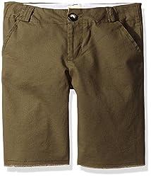Upper School Boy's Cut-Off Shorts, Army Green, 6