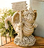 Funny Dragon With Sign Garden Statue