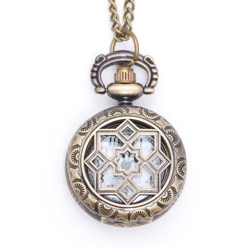 New vintage style round pocket watch locket pendant quartz bronze long necklace by 81stgeneration