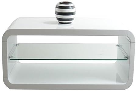 """HL Design 01-03-171.1 Couchtisch """"Pietro"""", 1200 x 600 x 400 cm, Glasplatte 6 mm, Klarglashochglanz weiß lackiert"""