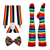 Rainbow Pride Alliance Pride Suspender, Long Socks, and Bowtie Combo Kit