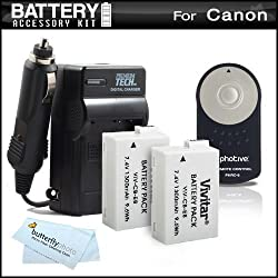 2 Pack Battery And Charger + Wireless Shutter Release Kit For Canon EOS Rebel T5i T4i T2i T3i DSLR Camera Includes 2 Extended Replacement (1500MAH) Batteries For Canon LP-E8 + Ac/Dc Travel Charger + Photive RC-6 Wireless Shutter Release Remote Control