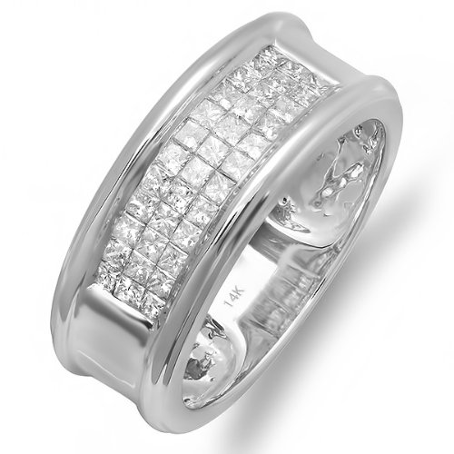 1.00 Carat (ctw) 14k White Gold Princess Diamond Invisible Set Mens Wedding Band Anniversary Ring