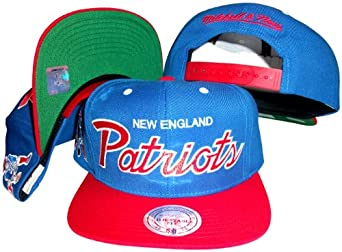 New England Patriots Script Blue Red Two Tone Snapback Adjustable Plastic Snap Back... by Mitchell & Ness
