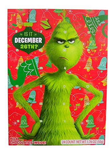 Dr. Seuss' The Grinch Christmas Holiday Countdown Advent Calendar with 24 MIlk Chocolates, 1.76 oz