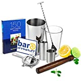 Home Cocktail Set with Cocktail Book & Irish Measures by bar@drinkstuff Cocktail Making Kit with Boston Cocktail Shaker Tin & Glass, Cocktail Book, Hawthorne Cocktail Strainer, Muddler, Twisted Mixing Spoon, 35ml & 70ml Irish Spirit Measures