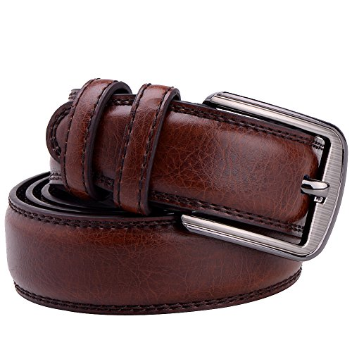Vbiger Western Style Genuine Leather Belt with Polished Buckle Double-stitching (one size, Dark Brown)