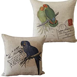 Pair of Blue and Green Parrots Print Decorative Pillows Linen Cushions For Couch 45CMx45CM Throw Pillows
