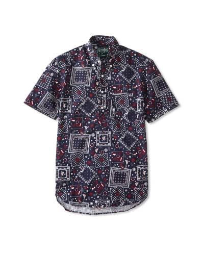 Gitman Vintage Men's Nautical Print Popover Shirt