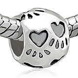 Dog Paw Print Bead - Pandora Bead Charm Bracelet Compatible