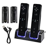 eForCity Dual Charging Station w/ 2 Rechargeable 2800 mAh Batteries & LED Light Compatible with Wii Remote Control, Black