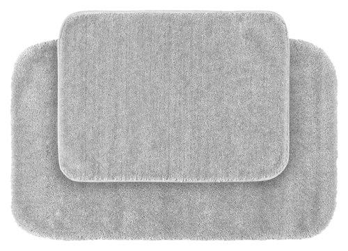 Garland Rug 2-Piece Traditional Nylon Washable Bathroom Rug Set, Platinum Gray front-288103