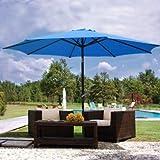 9ft Blue Sunshade Umbrella Metal Pole Outdoor Garden Yard Patio Beach Market Cafe 9'