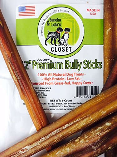 sancho lola 39 s 12 inch bully sticks for dogs made in usa 6 pack standard boutique grain free. Black Bedroom Furniture Sets. Home Design Ideas
