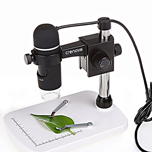 Crenova USB 2.0デジタル顕微鏡、5MPビデオ付き顕微鏡、300倍拡大鏡、カメラ、内視鏡、LEDランプ8個および高さ調節スタンド付き、Windows XP/VISTA /WIN7 /Mac OSX UM012C対応