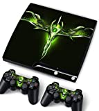 Bundle Monster Vinyl Skin Sticker For PlayStation PS3 S SLIM Game Console - Cover Protector Art Decal - Green Dagger